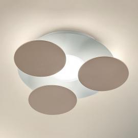 Runde LED-Deckenleuchte Nuvola in Graubraun