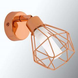 Kupferfarbene LED-Wandleuchte Zapata im Käfiglook