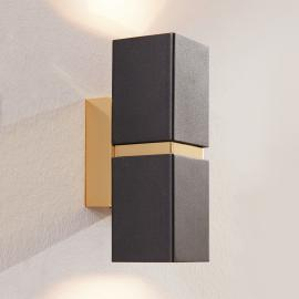 Zweiflammige LED-Wandleuchte Passa, schwarz-gold
