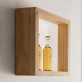 Quadratische LED-Wandleuchte Window mit Eichenholz
