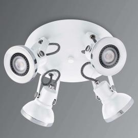 Vierflammiger LED-Deckenstrahler Ring in Weiß
