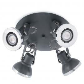 Dunkelgrauer LED-Deckenstrahler Ring 4-flg.