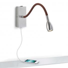 Mattgraue LED-Wandleuchte Milos mit braunem Stoff