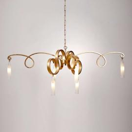 Prachtvolle LED-Hängeleuchte Fidanzata Gold, 6-flg