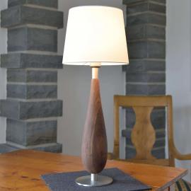 Tischleuchte Lara mit Holzfuß und Textilschirm, 61