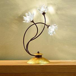 Florale Tischleuchte Fiorella, Kristalle klar
