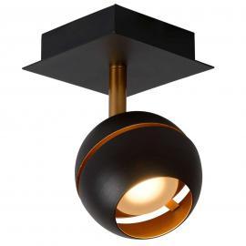 Schwarzer LED-Deckenstrahler Binari in Kugelform