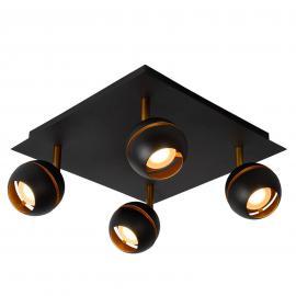 Schwarze Deckenleuchte Binari m. vier LED-Spots