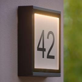 LED-Außenwandleuchte Cadra mit Beschriftungssatz