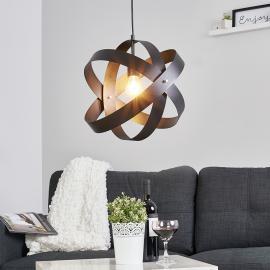 Schwarze LED-Pendelleuchte Cara mit drei Ringen