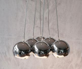 DELIFE Hängeleuchte Pentola 45 cm Chrom Silberfarben 6 Schirme, Hängeleuchten