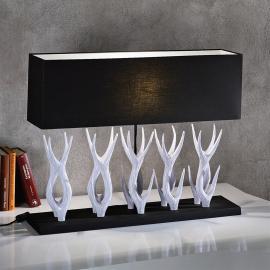 Extravagante Tischleuchte Marlies mit Holz