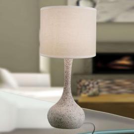 Mit Keramikfuß - Textil-Tischleuchte Liah
