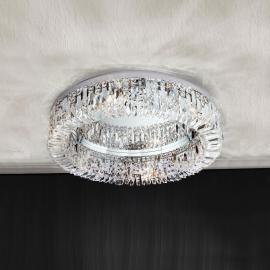 Deckenleuchte Ring mit Schöler-Kristallen 59 cm