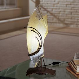 Designer-Tischleuchte ROMA 48 Glas links gebogen