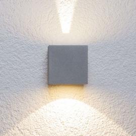 Silberne LED-Außenwandleuchte Jarno, Würfelform