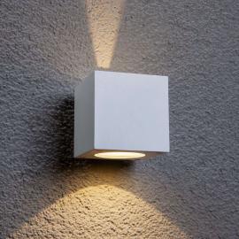Weiße LED-Außenwandleuchte Jarno, Würfelform