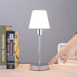Formschöne Tischleuchte Sascha mit Glasschirm