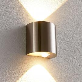 Halbrunde LED-Wandleuchte Lareen, nickel satiniert