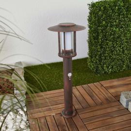 LED-Sockelleuchte Pavlos in Rost, Bewegungsmelder