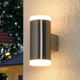 2-flammige LED-Außenwandleuchte Eliano, Edelstahl