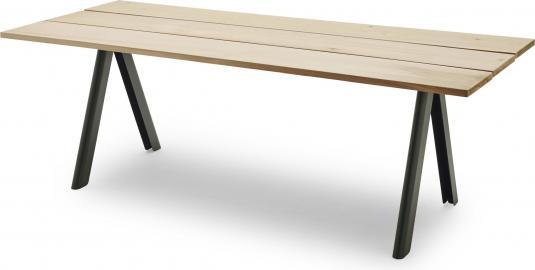 Stół Overlap drewniany blat i zielone nogi