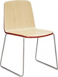 Krzesło Just naturalne z czerwonym wykończeniem