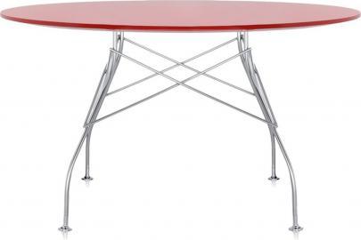 Stół Glossy z okrągłym blatem czerwony
