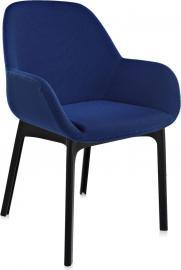 Fotel Clap czarna rama niebieskie siedzisko