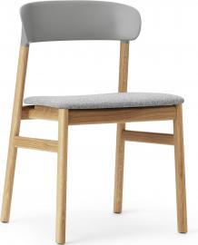 Krzesło Herit jasny dąb siedzisko tapicerowane szare