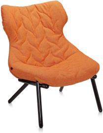 Fotel Foliage czarna rama pomarańczowa wełna