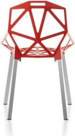 Krzesło Chair_One czerwone z polerowanymi anodyzowanymi nogami