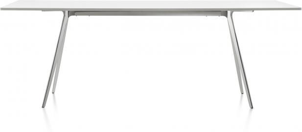 Stół Baguette 160 cm blat MDF biały rama polerowana
