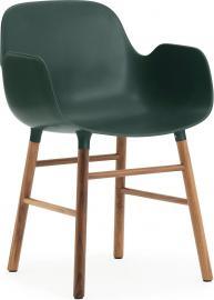 Fotel Form zielony z orzechową ramą