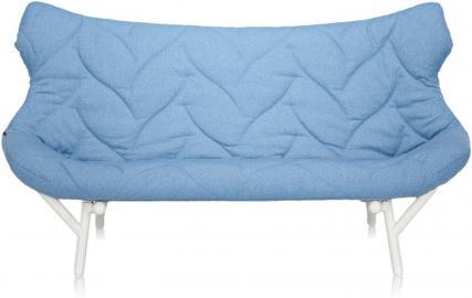 Sofa Foliage biała rama niebieski poliester