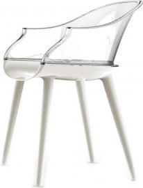 Krzesło Cyborg Couplings siedzisko białe oparcie transparentne