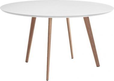 Stół Pilo okrągły naturalne nogi biały blat