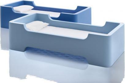 Łóżko pojedyncze Bunky jasnoniebieskie