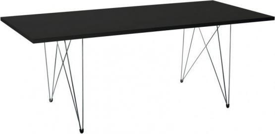 Stół XZ3 prostokątny czarny blat chromowana rama