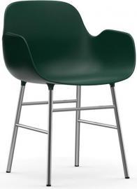 Fotel Form chromowane nogi zielony
