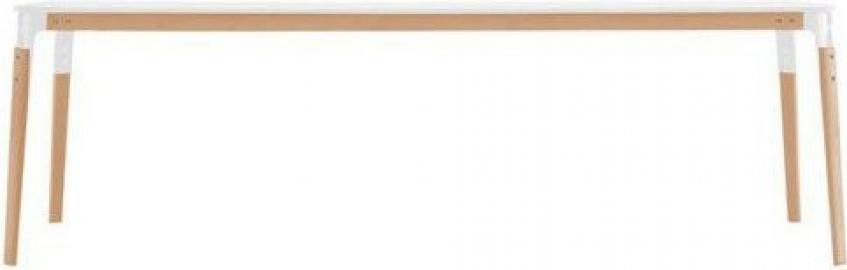 Stół Steelwood prostokątny rama naturalny buk blat biały