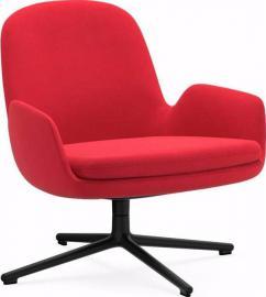 Fotel niski Era obrotowy rama czarna materiał Fame