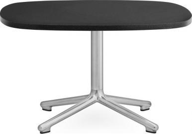 Stół Era owalny L nogi w kolorze srebrnym blat czarny