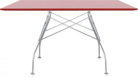 Stół Glossy z kwadratowym blatem czerwony