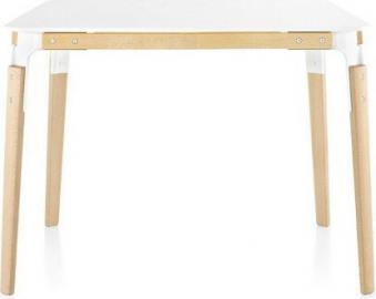 Stół Steelwood kwadratowy 90 x 90 cm rama naturalny buk blat biały