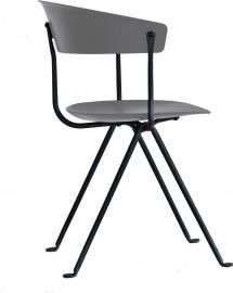 Krzesło Officina czarne nogi szare metaliczne siedzisko i oparcie