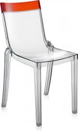 Krzesło Hi-Cut przezroczyste z czerwonym paskiem