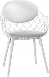 Krzesło Pina białe, materiał skóra, nogi białe