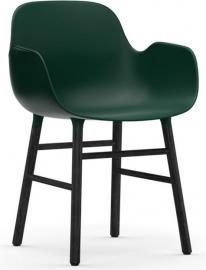Fotel Form zielony z czarną dębową ramą
