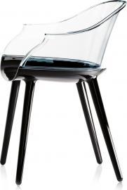 Krzesło Cyborg Couplings siedzisko czarne oparcie transparentne